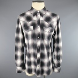 NUMBER (N)INE Size L Black White & Gray Shadow Plaid Cotton Western Shirt