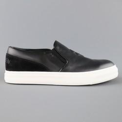 New ALEXANDER MCQUEEN Size 9 Black Embossed Skull Leather Slip On Sneakers