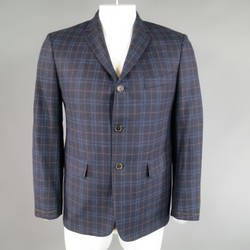 New BLACK FLEECE 40 Short Navy Plaid Wool / Cashmere 3 Button Sport Coat