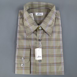 New BRIONI Size L Olive Green Plaid Cotton Long Sleeve Shirt