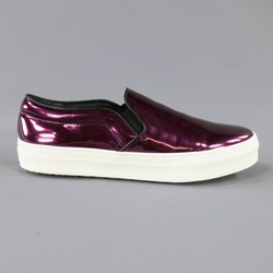 New CELINE Size 10.5 Purple Metallic Leather Slip On Sneakers