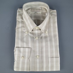 New LUCIANO BARBERA Size L Beige Plaid Cotton Long Sleeve Shirt