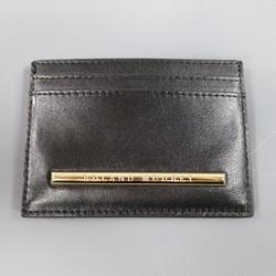 New ROLAND MOURET Black Leather Gold Engraved Metal Card Case