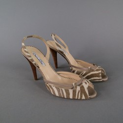 OSCAR DE LA RENTA 8.5 Off White & Taupe Zebra Tiger Pony Hair Sling Back Pumps