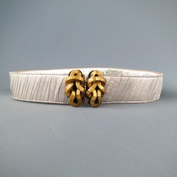 OSCAR DE LA RENTA Silver Metallic Tulle Gold Knot Buckle Leather Belt