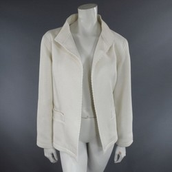 OSCAR DE LA RENTA Size 10 Off White Ribbed Cotton Open Front Jacket