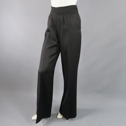 OSCAR DE LA RENTA Size 2 Black Wool  High Rise Wide Leg Ribbon Waist Dress Pants