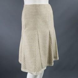 OSCAR DE LA RENTA Size 4 Beige & Brown Cashmere Blend Tweed Leated Pencil Skirt