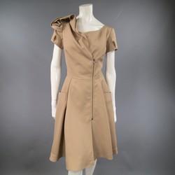 OSCAR DE LA RENTA Size 6 Beige Virgin Wool / Silk Short Embellished A Line Dress