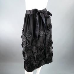 OSCAR DE LA RENTA Size 6 Black Wool / Angora Floral Embellished Skirt 2006