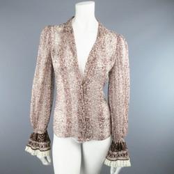 OSCAR DE LA RENTA Size 6 Brown Floral Silk Lace Ruffle Cuff Blouse