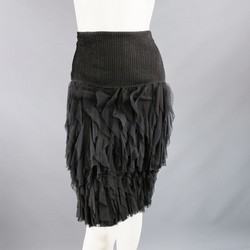 OSCAR DE LA RENTA Size 8 Black Mesh Ruffle Pencil Skirt