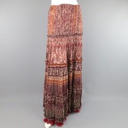 OSCAR DE LA RENTA Size 8 Burgundy Floral Textured Silk Boho Maxi Skirt