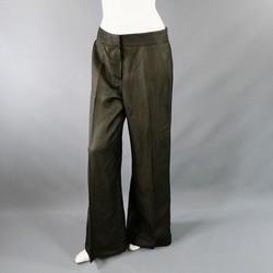 OSCAR DE LA RENTA Size 8 Deep Taupe Linen Blend  Wide Leg Dress Pants 2008