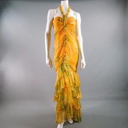 OSCAR DE LA RENTA Size 8 Yellow Floral Silk Chiffon Sweetheart Gown