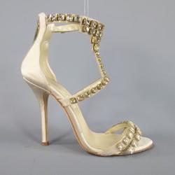 OSCAR DE LA RENTA Size 8.5 Champagne Silk Rhinestone Ankle Strap Sandals