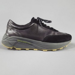 OUR LEGACY Size 10 Black Leather Thick Platform Sole Lace Up Sneakers