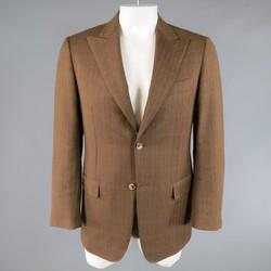 PAL ZILERI 40 Light Brown Blue & Red Windowpane Wool Peak Lapel Sport Coat