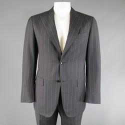 PAL ZILERI 40 Regular Charcoal & Lavender Striped Wool/Cashmere Peak Lapel Suit