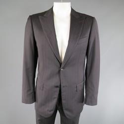PAL ZILERI 40 Regular Charcoal Red & Burgundy Striped Wool Peak Lapel Suit
