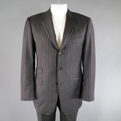 PAL ZILERI 40 Regular Charcoal Striped Wool 3 Button Notch Lapel Suit