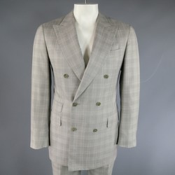 PAL ZILERI 40 Regular Light Gray PLaid Wool/Silk Double Breasted Peak Lapel Suit