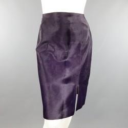 PAUL KA Size 8 Purple Calf Hair Slit Skirt