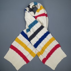 PAUL SMITH Cream Multi-Color Striped Wool Thick Cable Knit Scarf
