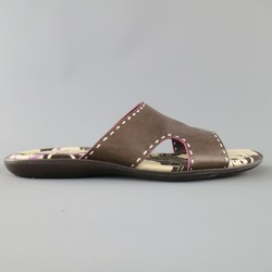 PAUL SMITH Size 11 Brown Contrast Stitch Leather Cutout Slide Sandals