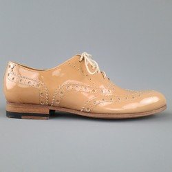PAUL SMITH Size 6 Nude Beige Patent Leather Oxford Brogues