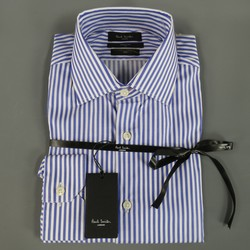 PAUL SMITH Size M Blue & White SOHO StripedCotton Long Sleeve Shirt