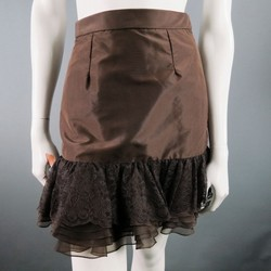 PETROU Size 2 Brown Silk Lace Ruffle Skirt