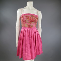 PETROU Size 4 Pink Embellished Full Skirt Cocktail Dress