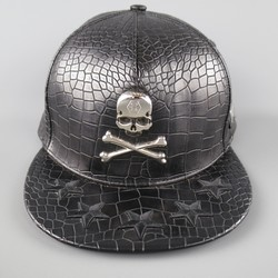 PHILIPP PLEIN Black Crocodile Star Embroidered Silver Skull Crossbones Cap