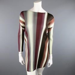 PLEATS PLEASE ISSEY MIYAKE Size S Burgundy Brown & Gray Striped Dress