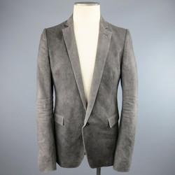 POEME BOHEMIEN 38 Washed Gray Dyed Cotton / Linen SIngle Button Sport Coat