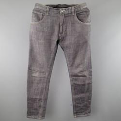POEME BOHEMIEN Size 32 Grey Disrressed Washed Raw Denim Jeans
