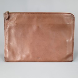 POLO RALPH LAUREN Light Brown Leather Zip Portfolio