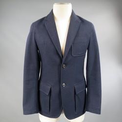 PRADA 38 Short Navy Wool Notch Tab Lapel Sport Coat