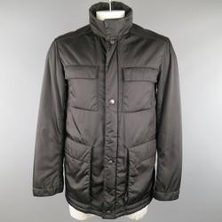 PRADA 40 Black Patch Pocket Leather Shoulder Military Jacket