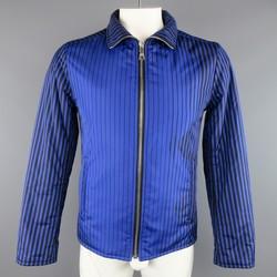 PRADA 40 Blue & Black Stripe Nylon Fall 2008 Puffer Jacket