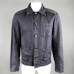 PRADA 40 Navy & Siiver Satin Panel Button Up Pocket Jacket
