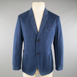 PRADA 40 Short Indigo Dyed Denim Look Cotton 2 Button Sport Coat