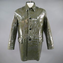 PRADA 42 High Shine Patent Green & Charcoal Button Up Collared Coat