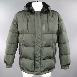 PRADA 44 Green Quilted Detachable Hood Puff Parka Jacket