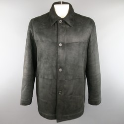 PRADA 46 Black Shearling Collared Button Up Coat