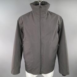 PRADA 46 Charcoal Nylon High Collar Detachable Bomber Liner Jacket