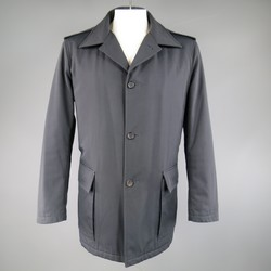 PRADA 46 Navy Canvas Patch Pocket Military Coat