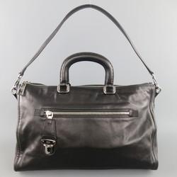 PRADA Black Leather Snap Zipper Shoulder Bag
