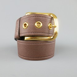 PRADA Brown 32 Leather Gold Buckle Grommet Belt